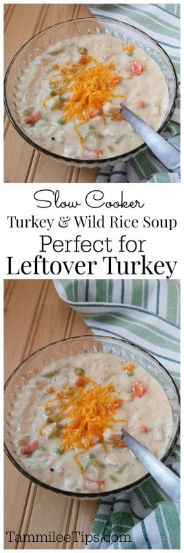 Slow Cooker Crockpot Turkey & Wild Rice Soup Recipe great for leftover turkey from Thanksgiving #crockpot #slowcooker #turkey #thanksgiving #recipe