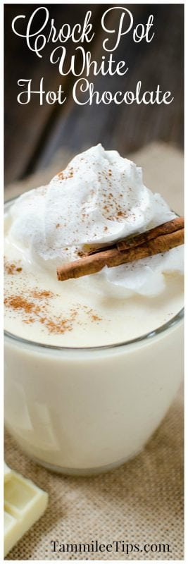 Easy homemade Slow Cooker Crock Pot White Hot Chocolate Recipe perfect for Christmas or any cold winter day.