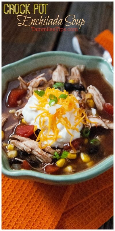 Easy Crock Pot Chicken Enchilada Soup Recipe!! This slow cooker Mexican soup is so good! #recipe #soup #crockpot #slowcooker