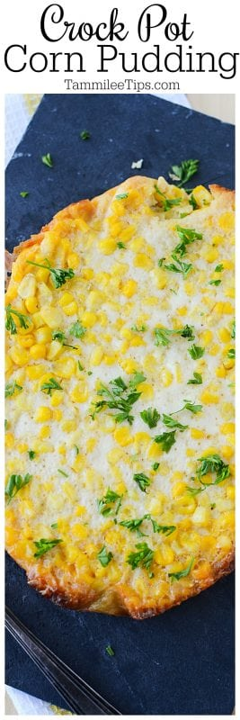 Slow Cooker Crock Pot Corn Pudding Recipe is easy to make and great for Thanksgiving, Christmas or family dinners. #Thanksgiving #christmas #crockpot #slowcooker #corn