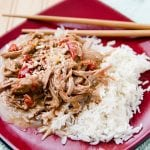 Slow Cooker Crock Pot Thai Pork with Peanut Sauce Recipe is perfect for family dinners. #Thai #pork #crockpot #slowcooker #recipe