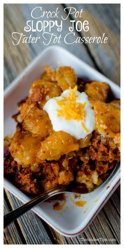 Slow Cooker Crock Pot Sloppy Joe Tater Tot Casserole Recipe with ground beef #recipe #crockpot #slowcooker #tatertot #casserole