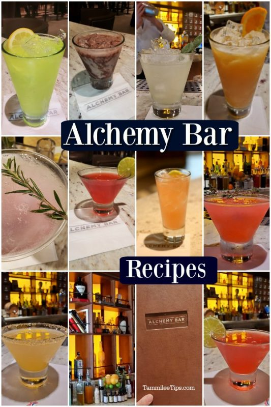 Multiple cocktail photos from the Carnival Cruise Alchemy Bar