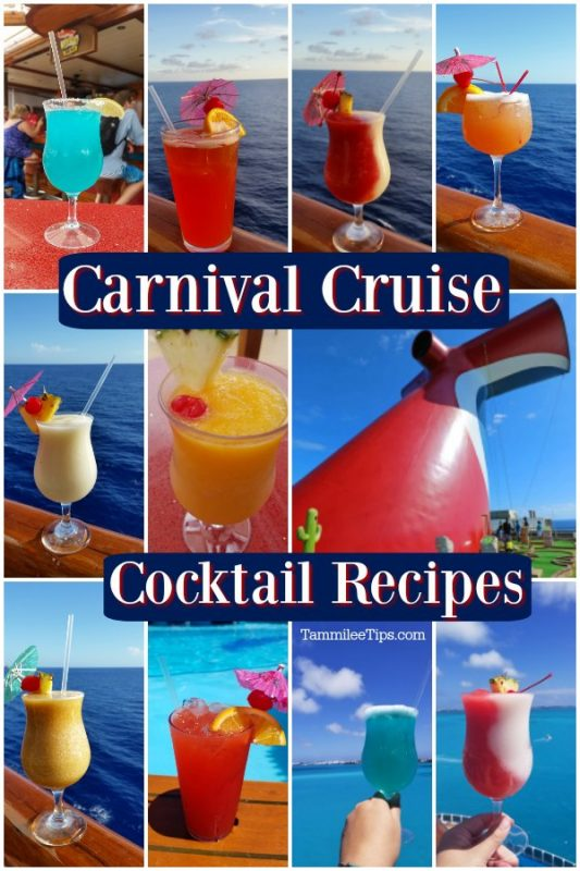 Multiple carnival cruise drink recipe photos with the ocean in the background