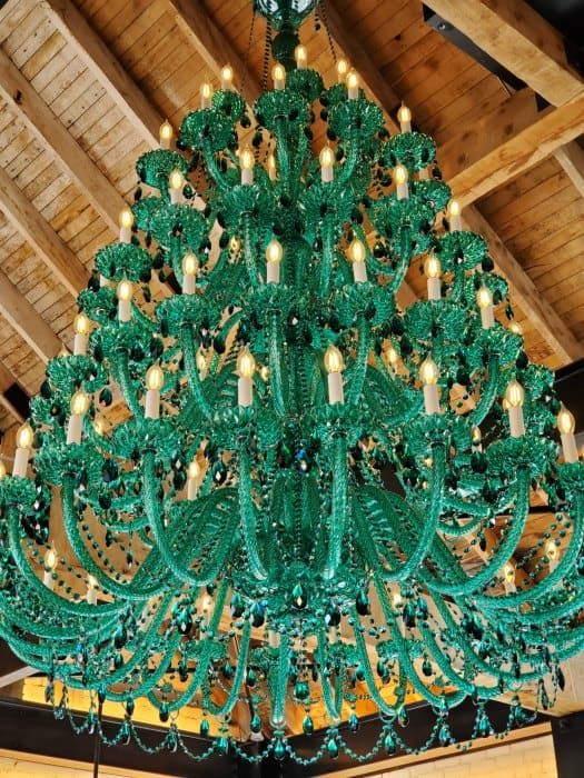Green Swarovski chandelier hanging