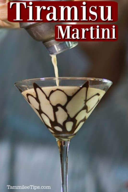 tiramisu martini in a martini glass with a chocolate design on the inside